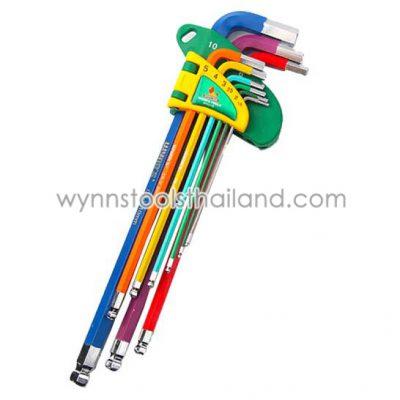 กุญแจหกเหลี่ยมหัวบอล 9 ชิ้น ยาว สีรุ้ง เบอร์ 1.5 ถึง 10 มม. เหล็ก CRV