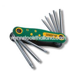 ประแจพับหัวทอร์คTorxมีรู เบอร์ T40-T30-T27-T25-T20-T15-T10-T9ทั้งหมด 8 ชิ้น