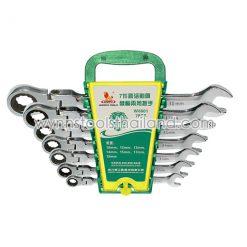 ชุดประแจแหวนเกียร์ คอพับ 7ตัว ขนาด 10, 12, 13, 14, 15, 17, 19 มม.