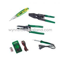 เครื่องมือช่างงานเกี่ยวกับไฟฟ้า (ไขควงลองไฟ,คีมตัดสายไฟ,คีมย้ำสายไฟ,หัวแร้งไฟฟ้า,มิเตอร์ดิจิตอล)